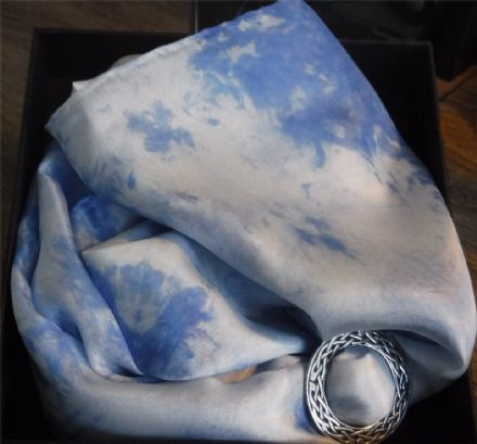 "Ladycrow Smooth Pongee Silk Scarf ""Glacier"" with Scarf Ring"